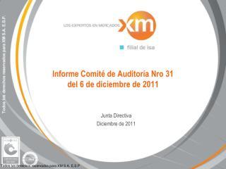 Informe Comité de Auditoría Nro 31  del 6 de diciembre de 2011