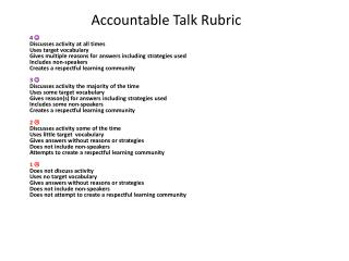 Accountable Talk Rubric