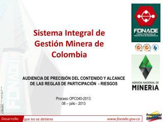 Sistema Integral de Gestión Minera de Colombia