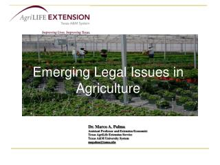 Emerging Legal Issues in Agriculture