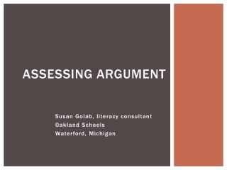 Assessing argument