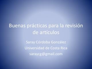 Buenas  prácticas para la revisión de artículos