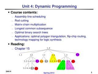 Unit 4: Dynamic Programming
