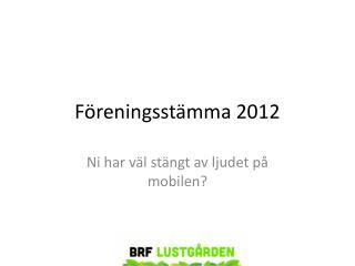 Föreningsstämma 2012