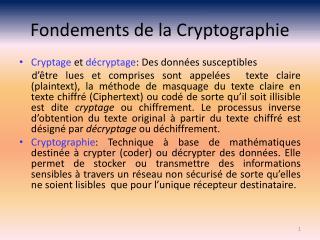 Fondements de la Cryptographie