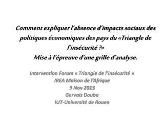 Intervention Forum ��Triangle de l�ins�curit頻 IREA Maison de l�Afrique 9  Nov  2013