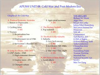 APUSH UNIT 08: Cold War and Post-Modern Era