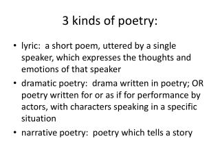 3 kinds of poetry: