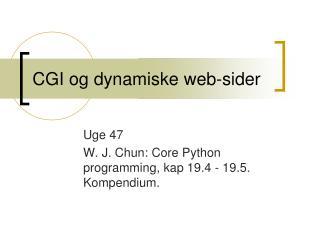 CGI og dynamiske web-sider