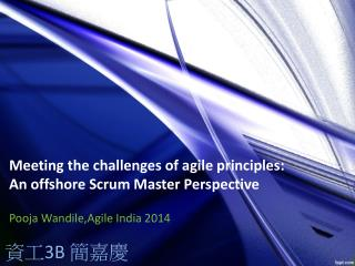 Meeting the challenges of agile principles: An offshore  Scrum Master  Perspective