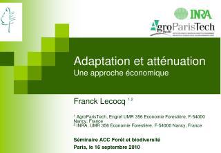 Adaptation et atténuation Une approche économique