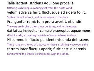 Talia iactanti stridens Aquilone procella