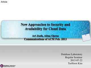 Database Laboratory Regular Seminar 2013-07-22 TaeHoon Kim