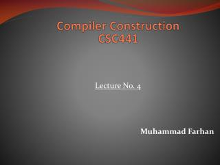 Compiler Construction CSC441