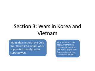 Section 3: Wars in Korea and Vietnam
