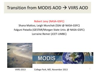 Transition from MODIS AOD   VIIRS AOD