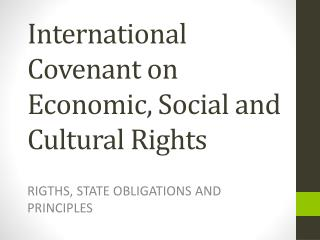 International Covenant on Economic, Social and Cultural Rights