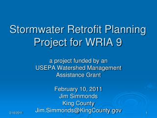 Stormwater Retrofit Planning Project for WRIA 9