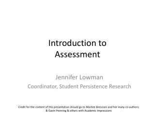 Introduction to Assessment