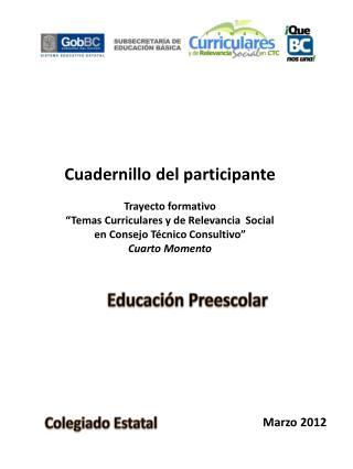 """Cuadernillo del participante Trayecto formativo  """"Temas Curriculares y de Relevancia  Social"""