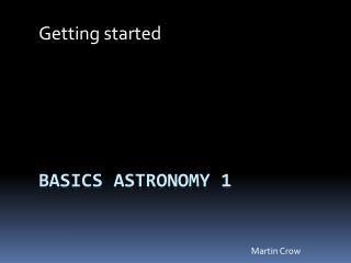 Basics Astronomy 1