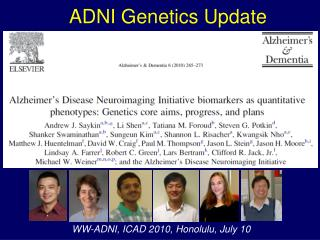 ADNI Genetics Update