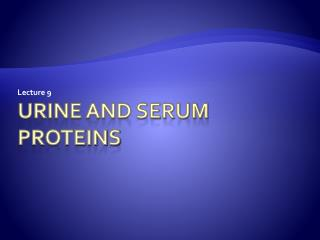Urine and serum proteins