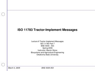 ISO 11783 Tractor-Implement Messages