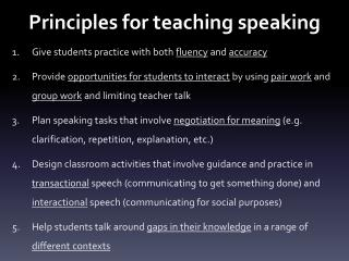 Principles for teaching speaking