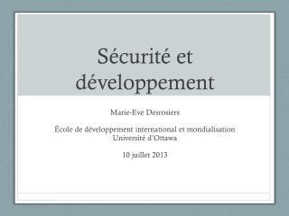 Sécurité et développement