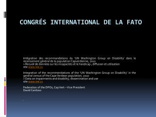 CONGRÉS internaTional de la fato