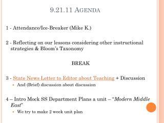 9.21.11 Agenda