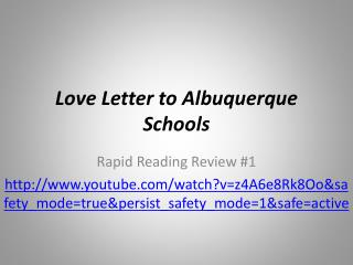 Love Letter to Albuquerque Schools