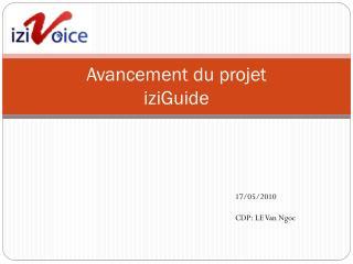 Avancement du projet iziGuide