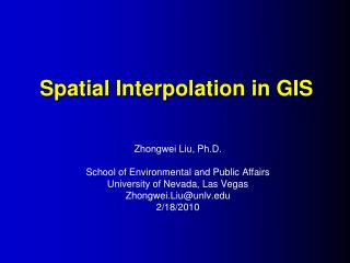 Spatial Interpolation in GIS