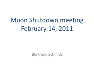 Muon  Shutdown meeting  February 14,  2011