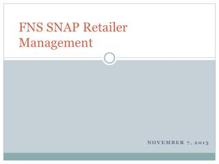 FNS SNAP Retailer Management