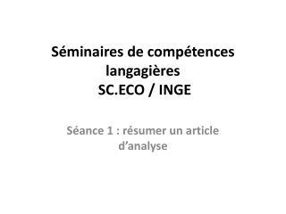 Séminaires de compétences langagières  SC.ECO / INGE