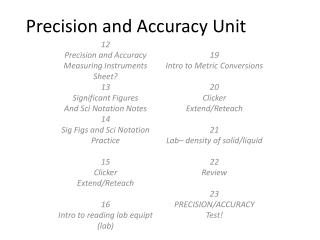 Precision and Accuracy Unit
