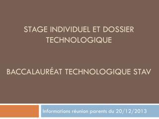 Stage individuel et dossier technologique Baccalauréat technologique STAV