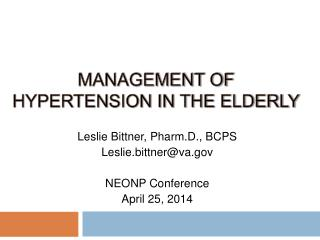 Management of Hypertension in the Elderly