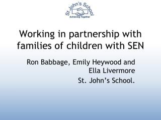 Working in partnership with families of children with SEN