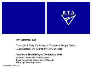 Control of Early Cracking of Concrete Bridge Decks Compaction and Durability of Concrete