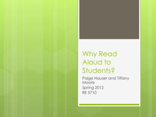 Why Read Aloud to Students?