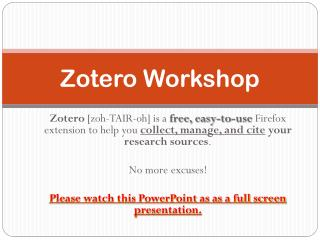 Zotero  Workshop
