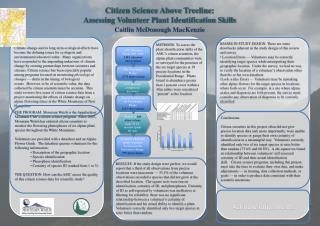 Citizen Science Above  Treeline : Assessing Volunteer Plant Identification Skills