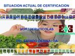 SITUACION ACTUAL DE CERTIFICACION    EN BUENAS PRACTICAS DE LAS EMPRESAS    HORTOFRUTICOLAS    DEL ESTADO DESINALOA