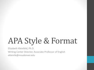 APA Style & Format