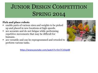 Junior Design Competition Spring 2014