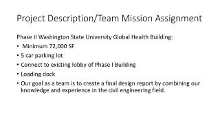 Project Description/Team Mission Assignment
